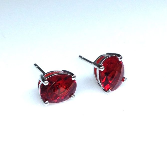 Red Helenite Oval Sterling Earrings