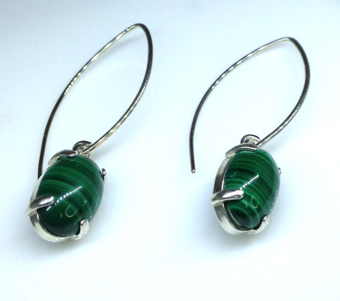 Malachite Cabs Sterling Dangle Earrings