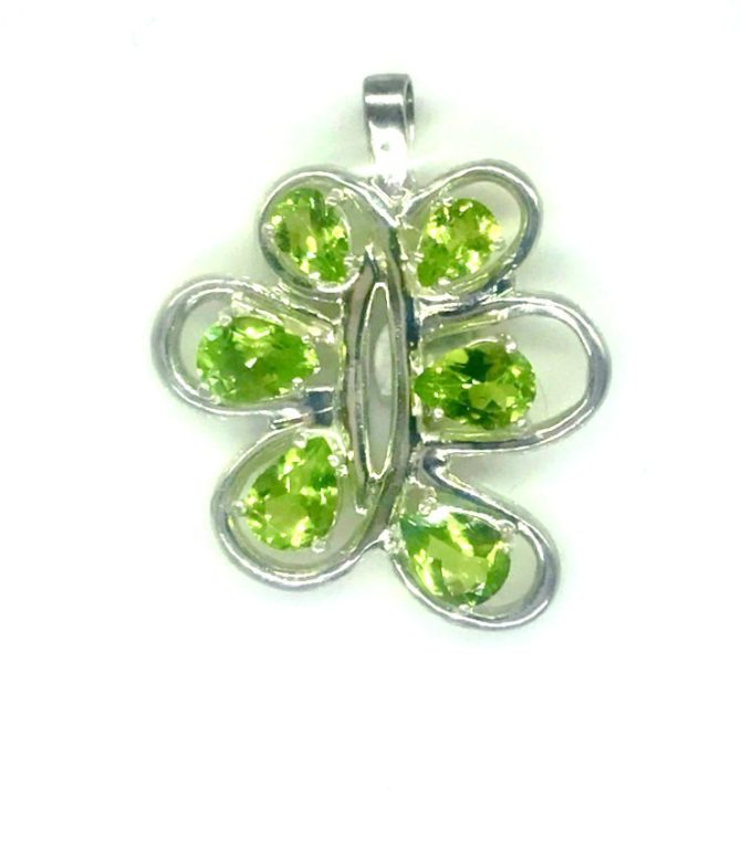 Peridot CO 7x5 Pear Sterling Pendant