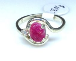 Ruby Oval Cab Sterling Ring