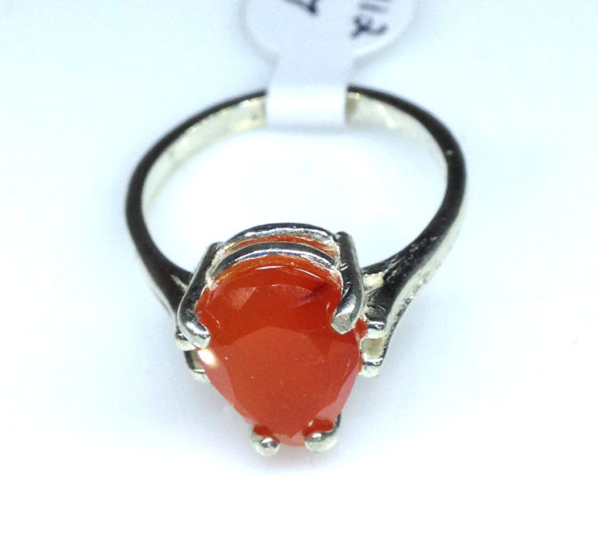 Carnelian NM Pear Sterling Ring
