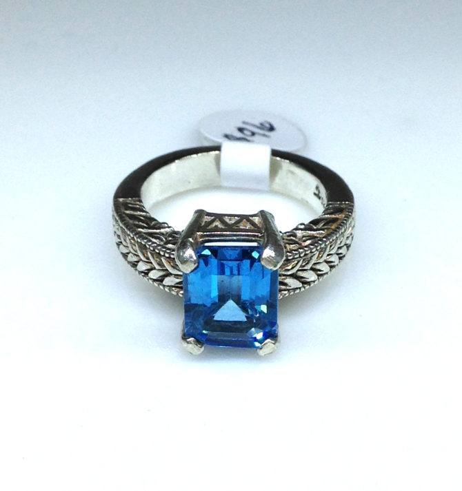 Swiss Blue Topaz Rectangle Sterling Ring
