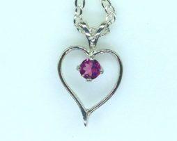 5421a Pink Tourmaline Heart Sterling Pendant