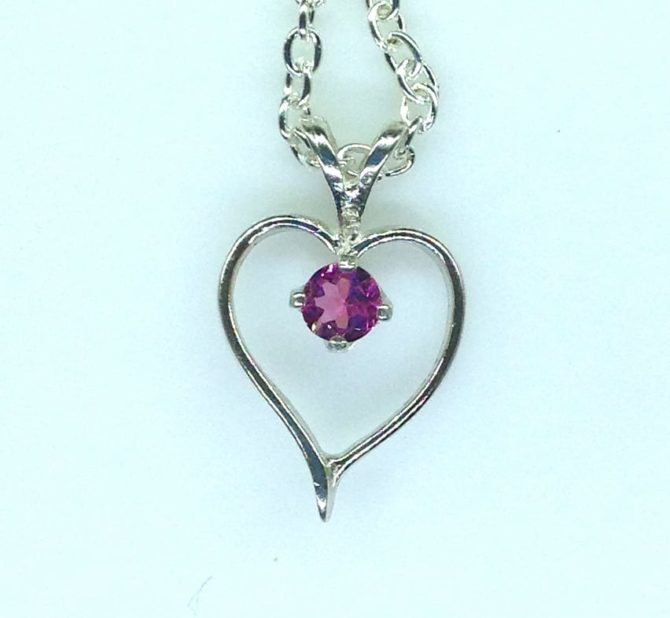 5421a Pink Tourmaline Heart Sterling Pendant