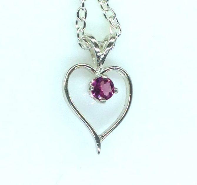 5421b Pink Tourmaline Heart Sterling Pendant.