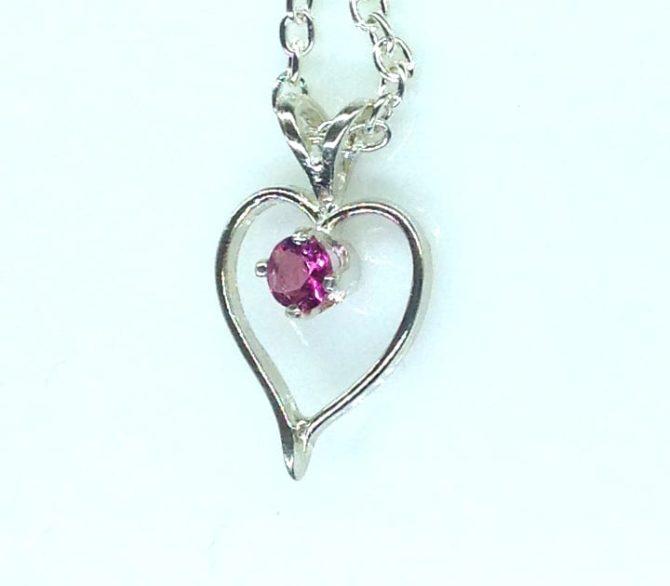 5421c Pink Tourmaline Heart Sterling Pendant.