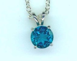 5423 a Paraiba Tourmaline 8mm round sterling silver pendant
