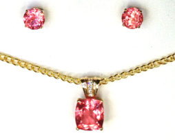 3014 Rhodochrosite Pendant & Earrings Set 1a