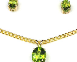 3017a Peridot Oval Gold Pendant & Earrings