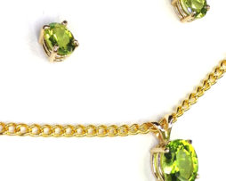 3017b Peridot Oval Gold Pendant & Earrings