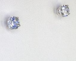 4232c Aqua CO Round Sterling Earrings