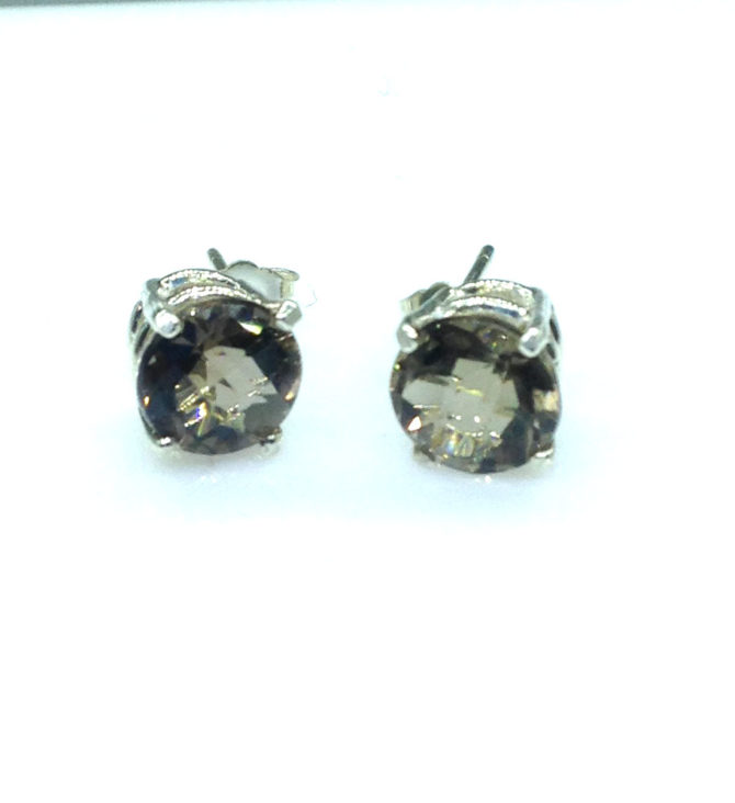 4146a Smoky Quartz CO 8mm Round Sterling Post Earrings