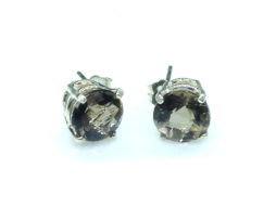 4146b Smoky Quartz CO 8mm Round Sterling Post Earrings