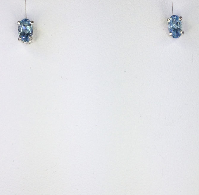 4172a Aquamarine Colorado 5x7 Oval Sterling Earrings