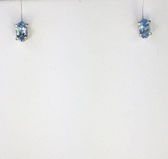 4172b Aquamarine Colorado 5x7 Oval Sterling Earrings