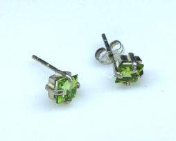 4289a Peridot CO Square Sterling Earrings
