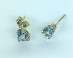 4232a Aqua CO 8x6 Pear Sterling Post Earrings