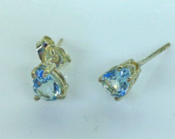 4232b Aqua CO 8x6 Pear Sterling Post Earrings