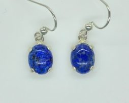 4253b Lapis 9x7 Oval Dangle Sterling Earrings
