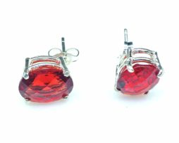 4281 Red Helenite 10x8 Oval Sterling Earrings