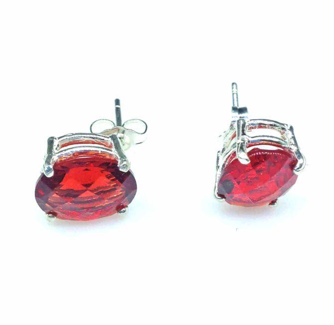 4281 Red Helenite 10x8 Oval Sterling Earrings