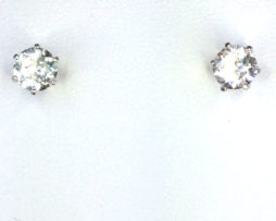 4283a White Topaz CO 8mm Round Sterling Earrings