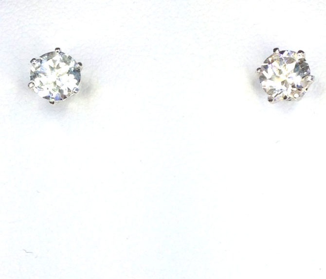 4283b White Topaz CO 8mm Round Sterling Earrings