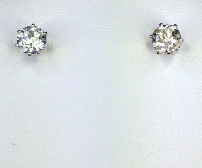 4283c White Topaz CO 8mm Round Sterling Earrings