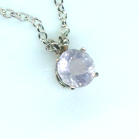 5084d Rose Quartz 8mm Round Sterling Pendant