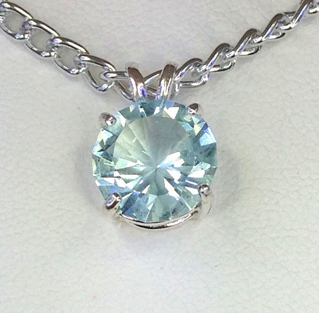 5141a Aquamarine CO Round Sterling Pendant