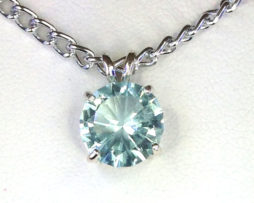 5141c Aquamarine CO Round Sterling Pendant