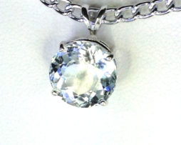 5154a White Topaz CO 11mm Round Sterling Pendant