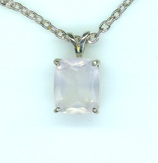 5228a Rose Quartz CO 11x9 Rectangle Sterling Pendant