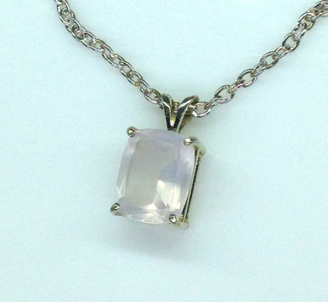 5228d Rose Quartz CO 11x9 Rectangle Sterling Pendant