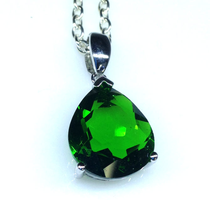 5235c Helenite Pear Sterling Pendant