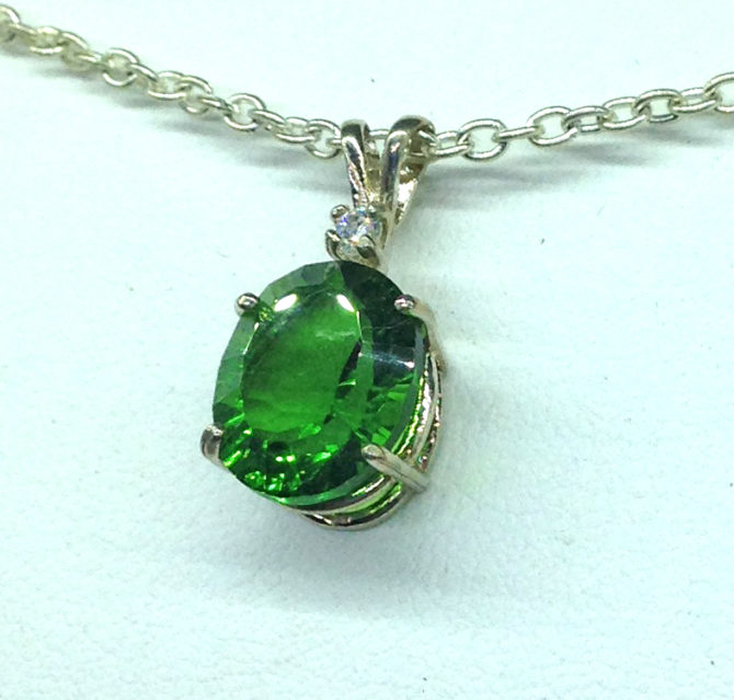 5283b Green Helenite Oval Sterling Pendant