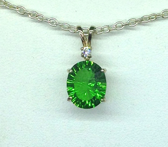 5283d Green Helenite Oval Sterling Pendant