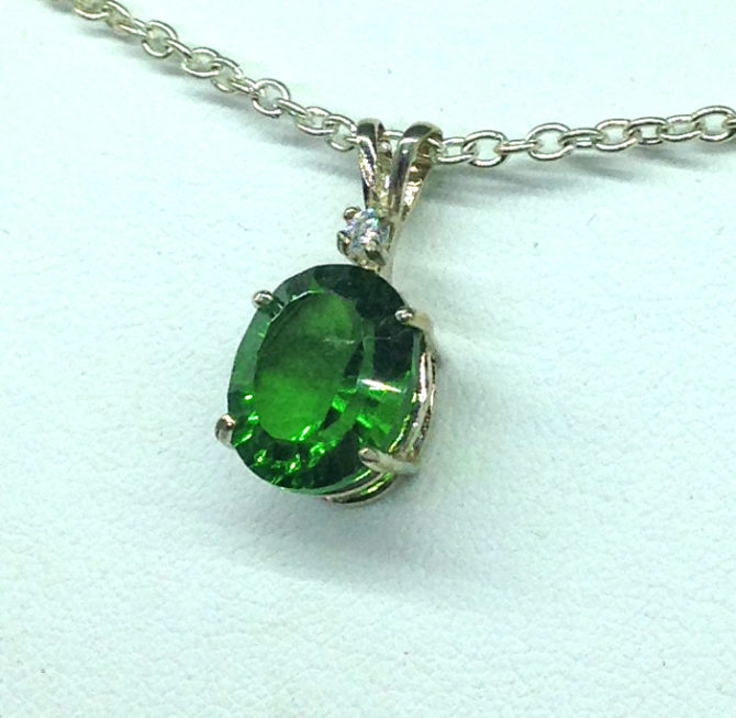 5283e Green Helenite Oval Sterling Pendant