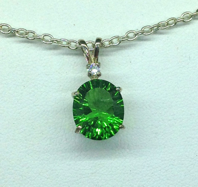 5283f Green Helenite Oval Sterling Pendant