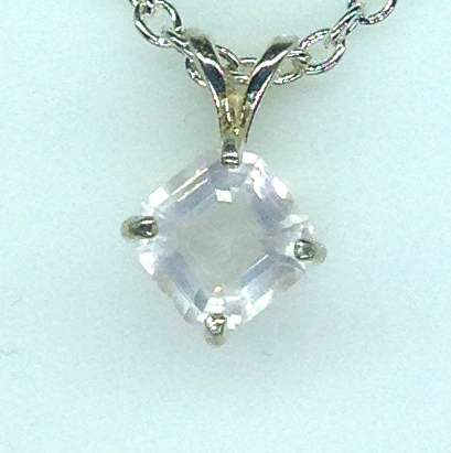5289a Rose Quartz CO 7x7 Square Sterling Pendant