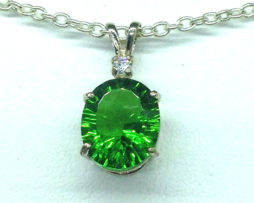 528a3 Green Helenite Oval Sterling Pendant