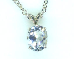 5293c White Topaz CO 10x8 Oval Sterling Pendant