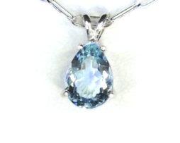 5297 Aqua CO 10x8 Pear Sterling Pendant