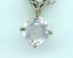 5325a Rose Quartz CO 10x10 Square Sterling Pendant