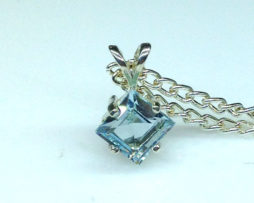 5327b Aqua CO 7x7 Square Sterling Pendant