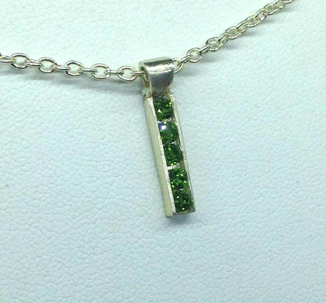 5336c Five Chrome Diopside Channel Sterling Pendant