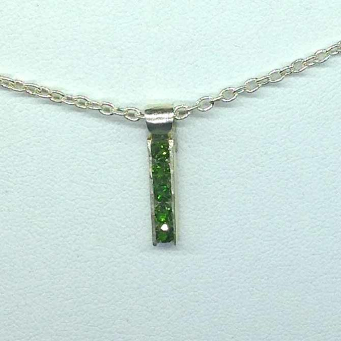 5336d Five Chrome Diopside Channel Sterling Pendant