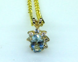 5340b Aqua CO 8x5 Oval Y Gold Pendant
