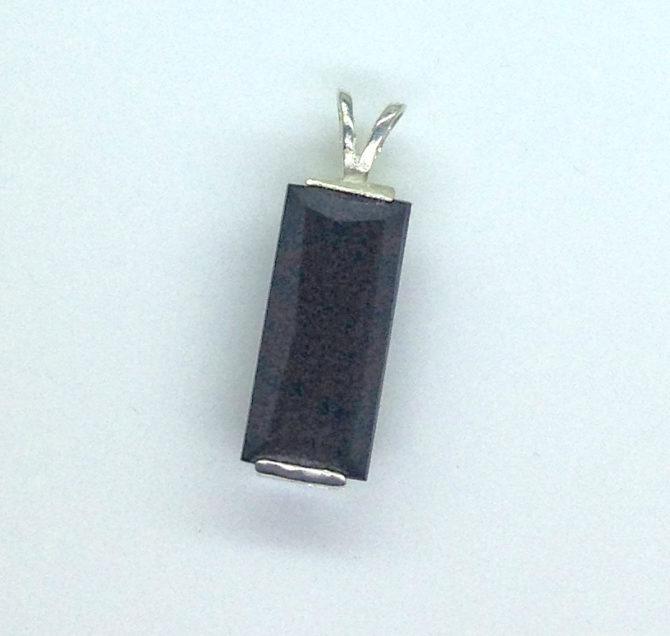5352b Black Tourmaline CO Sterling Pendant