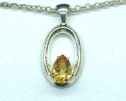 5364-106a Citrine pear Sterling Pendant